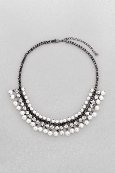 Pearl Chain Collar Necklace