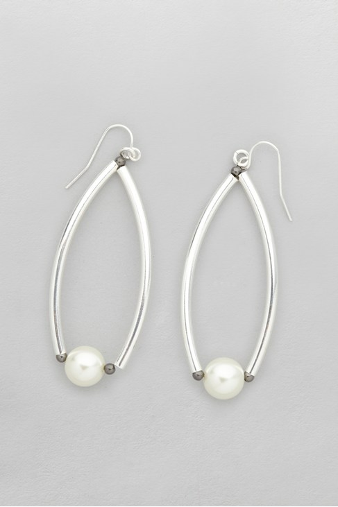 Pearl Curved Drop Earrings