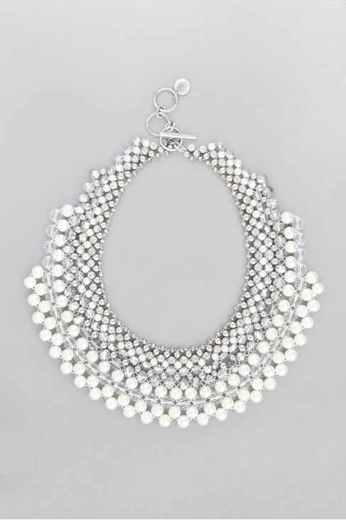 Woven Pearl Collar Necklace