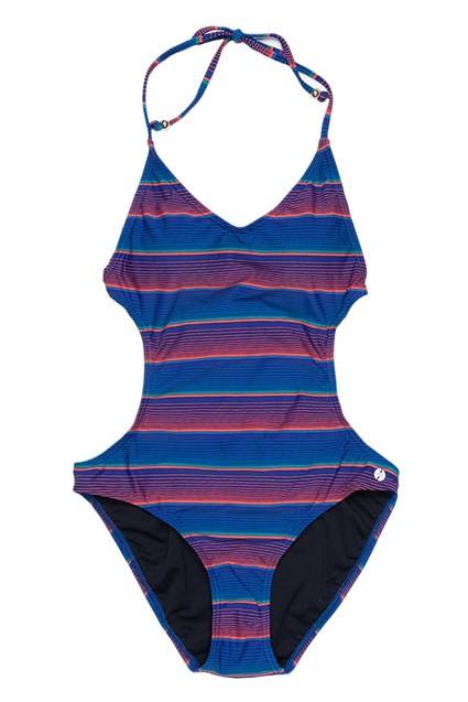 Sunny Stripe Swim Cut Out Swimsuit