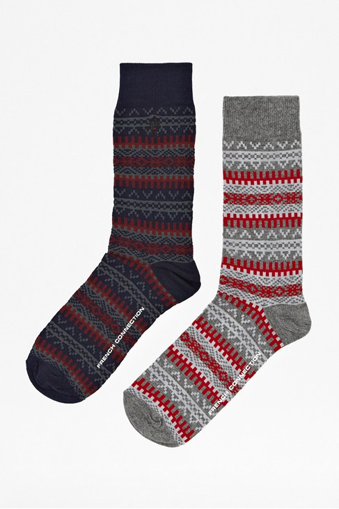 Two Pack Warner Patterned Fair Isle Socks