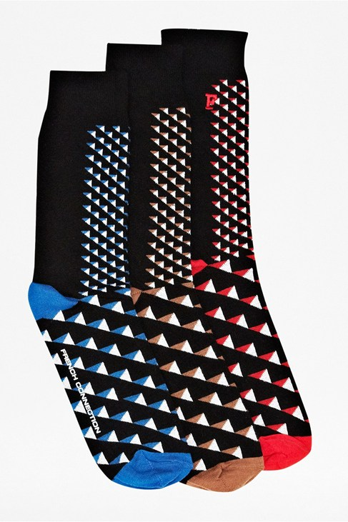 Three Pack Tucker Geo Socks
