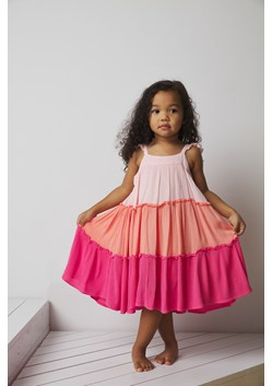 PINK COLOUR BLOCK CRINKLE DRES