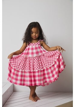 MIXED GINGHAM CRINKLE DRESS