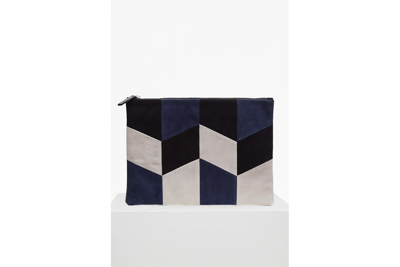 Oversized Patchwork Suede Clutch