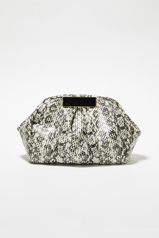 Complete the Look Kaya Faux Python Clutch