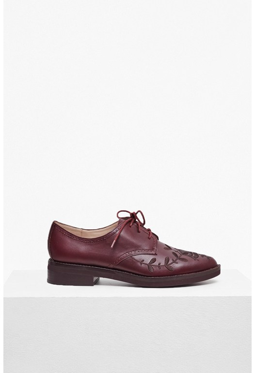 Maci Embroidered Lace Up Brogue
