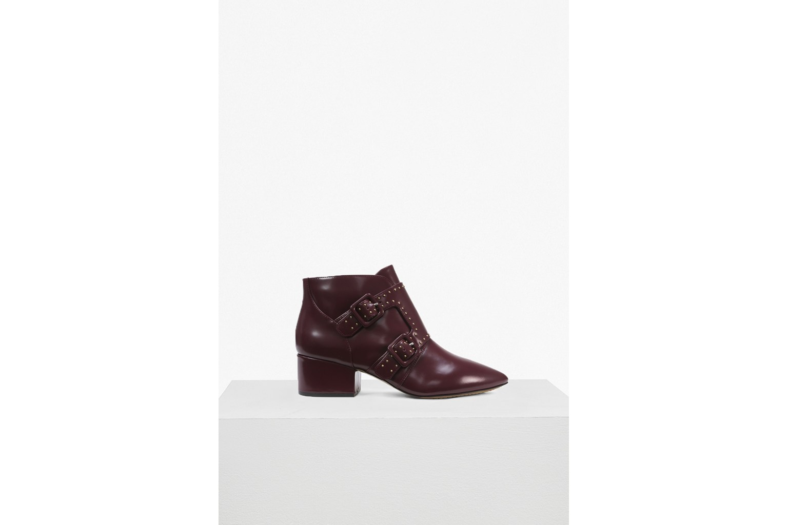 Roree Double Buckle Stud Leather Boots