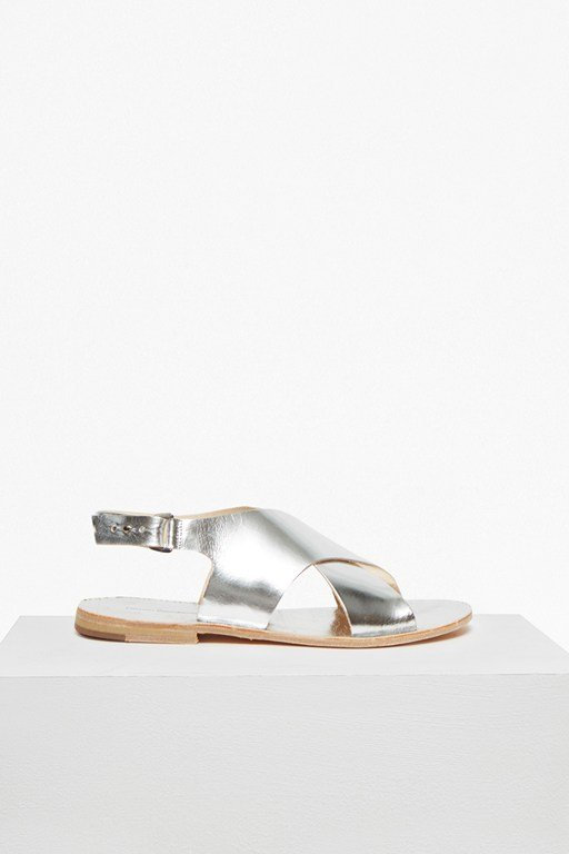 mia crossover leather slingback sandals