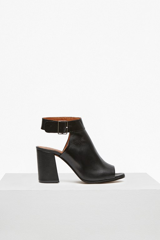 cut out heeled leather booties
