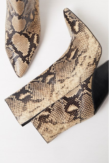 Ruby Snake Print Cowboy Ankle Boot