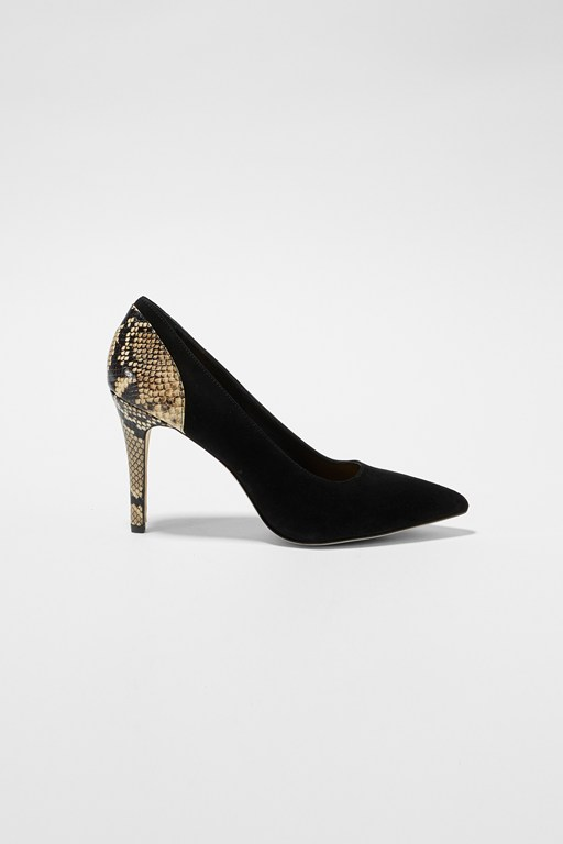 Complete the Look Suede And Python Stiletto Heels