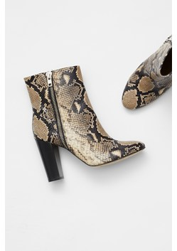 Snake Print Zip Ankle Boots