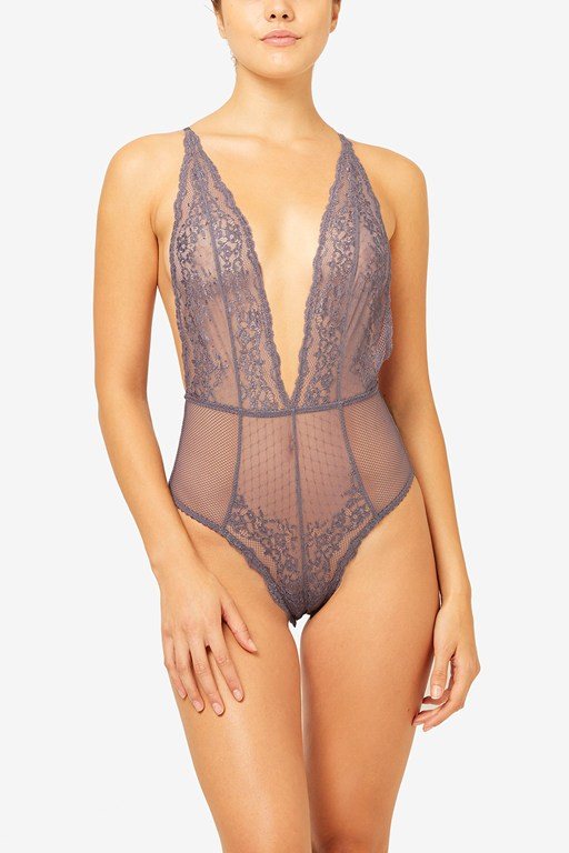lace mix plunge bodysuit