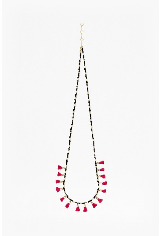 Multi Tassel Beaded Pendant Necklace