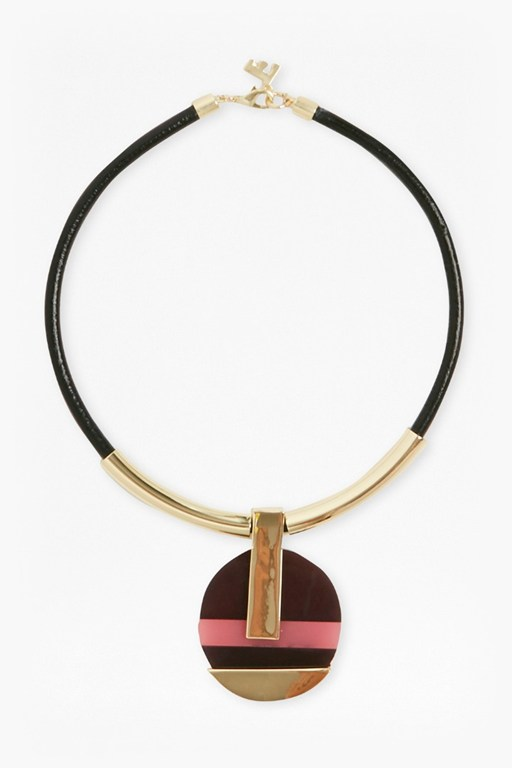 Complete the Look 18 Inch Colour Block Circle Pendant Necklace