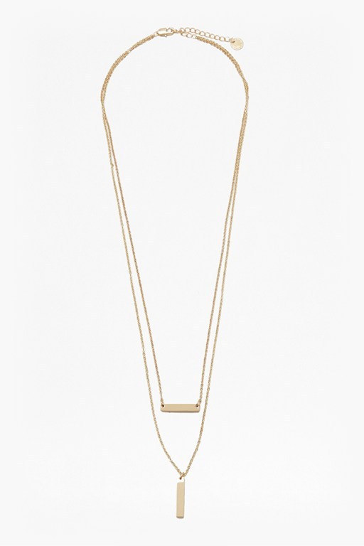 geo dual bar necklace