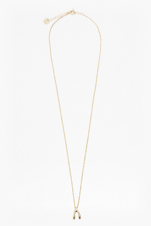 long chain wish bone pendant necklace