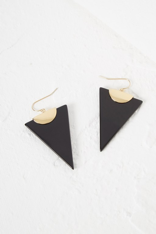 semi precious triangle earring