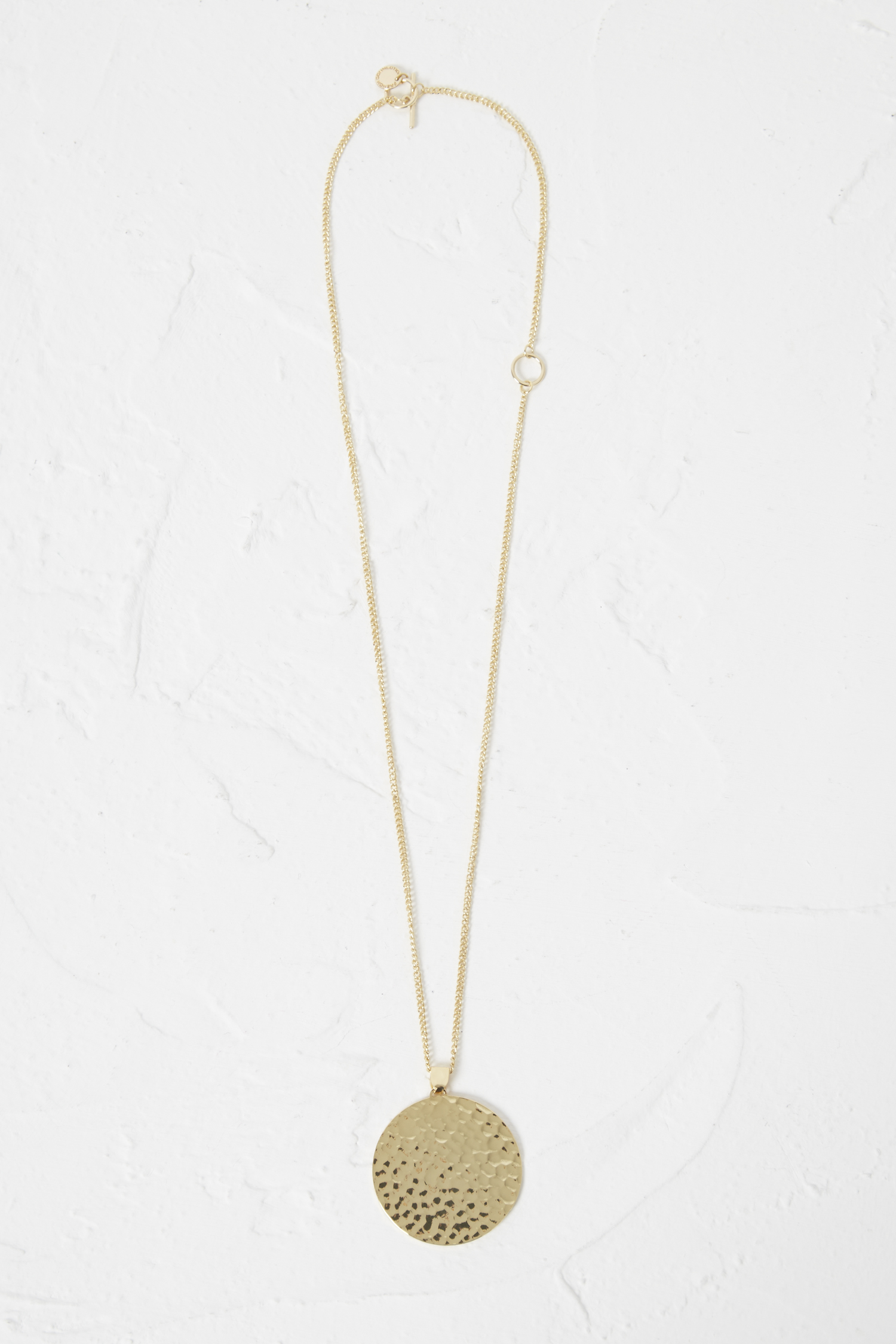 Hammered disc pendant necklace collections french connection usa aloadofball Choice Image