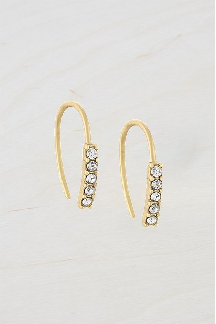 Complete the Look Small Stone Dot Hoop Earrings