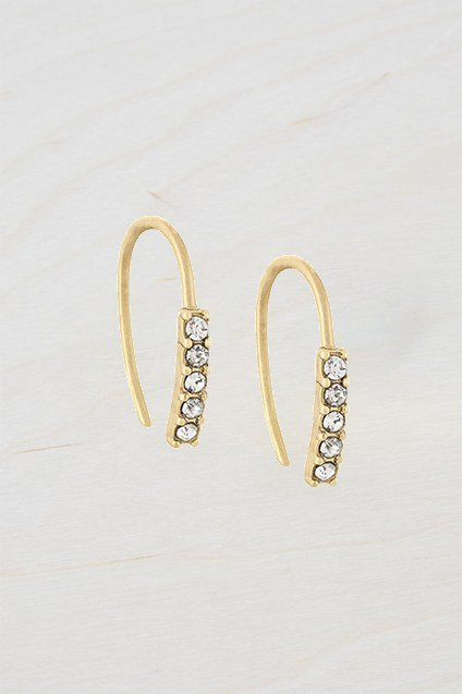 Small Stone Dot Hoop Earrings