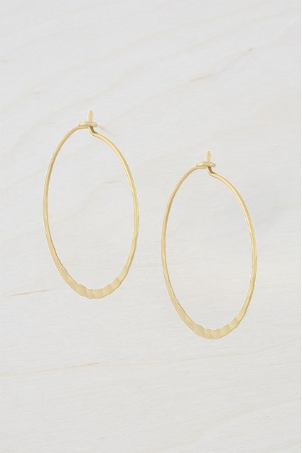 Complete the Look Small Hammered Hoop Earrings