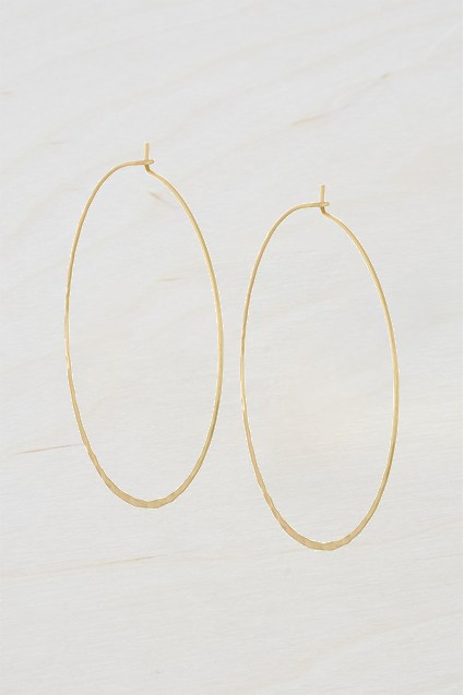 Complete the Look Large Hammered Hoop Earrings