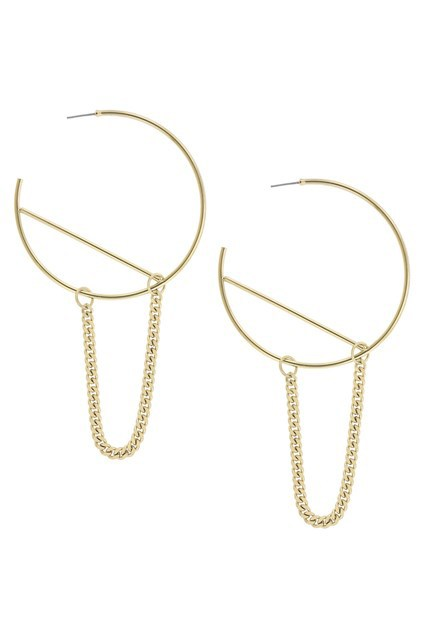 Large Hoop and Chain Earrings