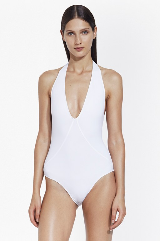 halter neck plunge swimsuit