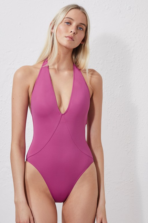 halter neck one-piece swimsuit