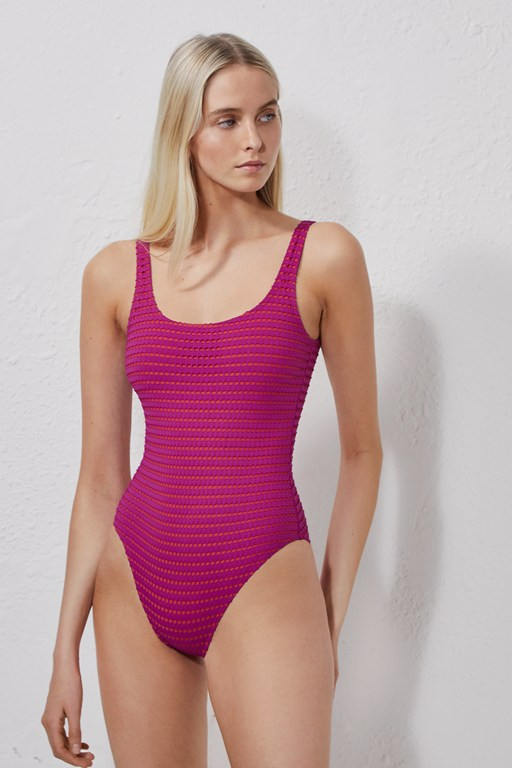 pointelle one-piece swimsuit