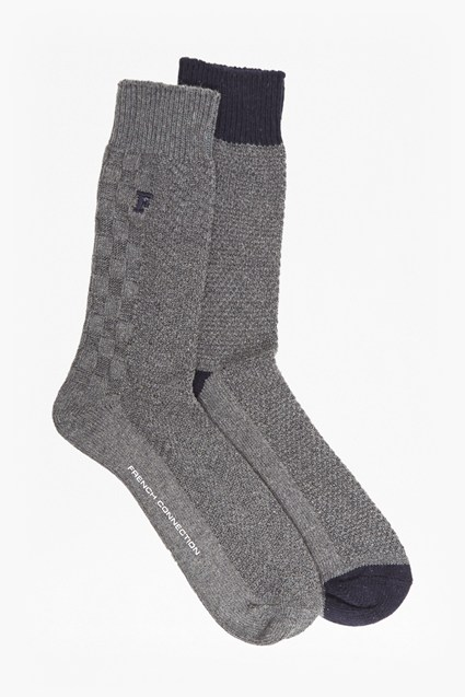 Textured Patchwork Knit Socks