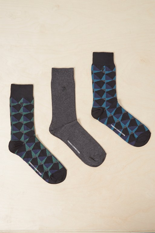 3 pack kaleidoscope diamond socks